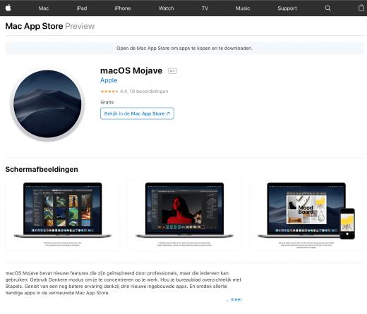 """Webpagina in Safari die de tekst """"Gratis"""" toont bij de prijs van macOS Mojave"""