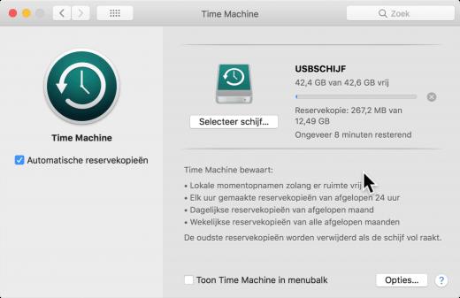 Time Machine maakt elk uur een reservekopie, zodat je nooit belangrijke gegevens kwijtraakt