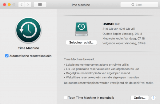 Je kunt altijd precies zien wanneer de laatste kopie naar Time Machine geweest is