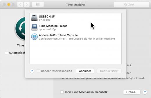Kies zelf of je de reservekopie naar een USB-schijf, NAS of Time Capsule maakt