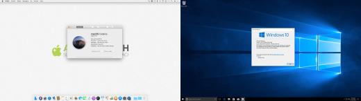 Links: macOS Catalina, rechts: Windows 10